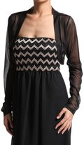 TheMogan Women's Sheer MESH BOLERO SHRUG Layering Vest Crop TOP - 3/4 Black - Small
