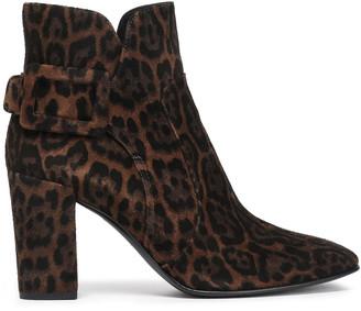 Roger Vivier Buckle-detailed Leopard-print Suede Ankle Boots