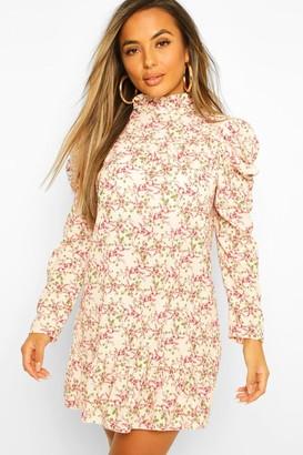 boohoo Petite High Neck Floral Smock Dress