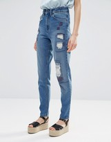 WÅVEN Elsa Mom Jeans with Distressing and Patches
