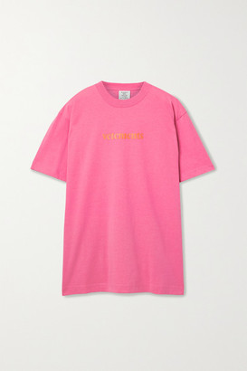 Vetements Oversized Appliqued Jersey T-shirt - Pink