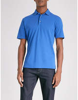 Canali Marl-patterned cotton-piqué polo shirt