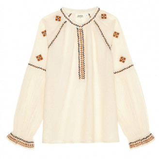 Hartford Off White Ethnic Hotel Embroidered Blouse - 1