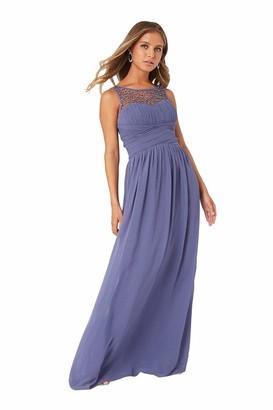 Little Mistress Grace Lavender Grey Embellished Neck Maxi Dress 10 UK Lavender Grey