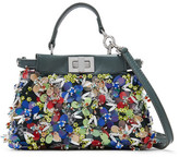 Fendi Peekaboo Micro Appliquéd Leather Shoulder Bag - Teal