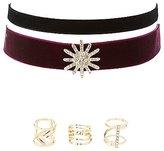 Charlotte Russe Velvet Choker Necklaces & Rings Set