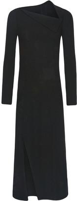 Oscar de la Renta Asymmetrical Neck Midi Dress