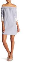 Solemio Sole Mio Off-the-Shoulder Striped Shift Dress