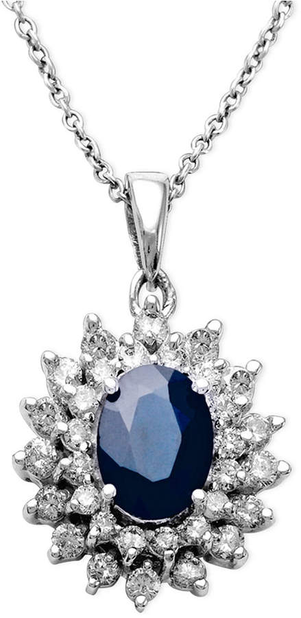 Effy Royalty Inspired by Sapphire (1-9/10 ct. t.w.) and Diamond (1 ct. t.w.) Two Row Oval Pendant in 14k White Gold