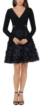 Xscape Evenings Floral-Applique A-Line Dress