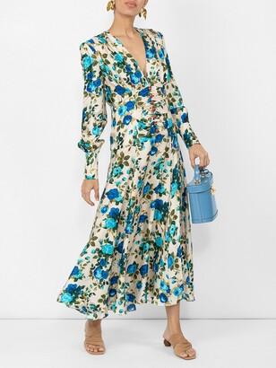 Rose-print Silk-twill Midi Dress