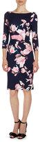 Erdem Reese 3/4-Sleeve Floral-Print Dress, Navy/Pink