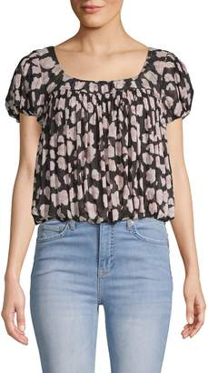Free People Gathered Printed Blouse