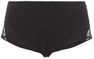 Fleur of England Signature Lace Panel Silk Blend French Briefs - Womens - Black
