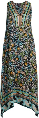 Hale Bob Floral V-Neck Midi Handkerchief Dress