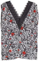 Zadig & Voltaire Printed Silk Tank with Lace Trim