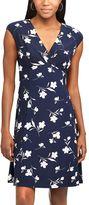Chaps Petite Floral Surplice Empire Dress
