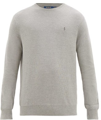 Polo Ralph Lauren Logo-embroidered Knitted-cotton Sweater - Grey
