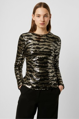French Connection Ebba Tiger Stripe Sequin Top