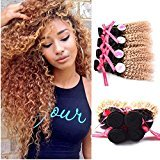 Punzel's Black Gold Two-tone Color 1b/27 6A Brazilian Virgin Ombre 100% Unprocessed Human Hair Curly Wave 4 Bundles Hair Weft Length 12 14 16 18 Inches 100g/pc