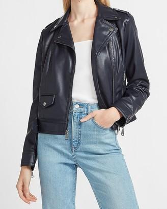 Express Vegan Leather Belted Moto Jacket