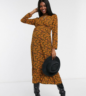 Topshop Maternity floral midi dress in mustard