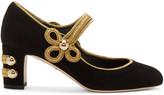 Dolce & Gabbana Black Suede Military Mary-Jane Heels