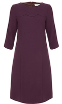 Goat Vanity Purple Scallop Detail Wool-Crepe Dress