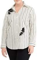 Lauren Ralph Lauren Plus Embroidered Striped Cotton Button-Down Shirt