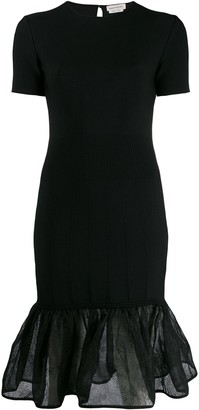 Alexander McQueen Sheer Peplum Hem Dress