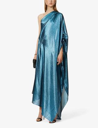 Roland Mouret Ritts metallic asymmetric-neck silk-blend gown