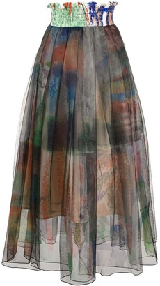 Quetsche Pleated Print-Layered Skirt