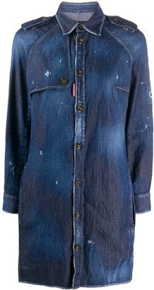 DSQUARED2 Distressed Finish Button Front Shirt Dress