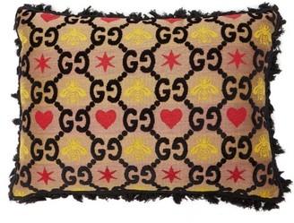 Gucci GG Bee And Star-jacquard Cushion - Black Multi