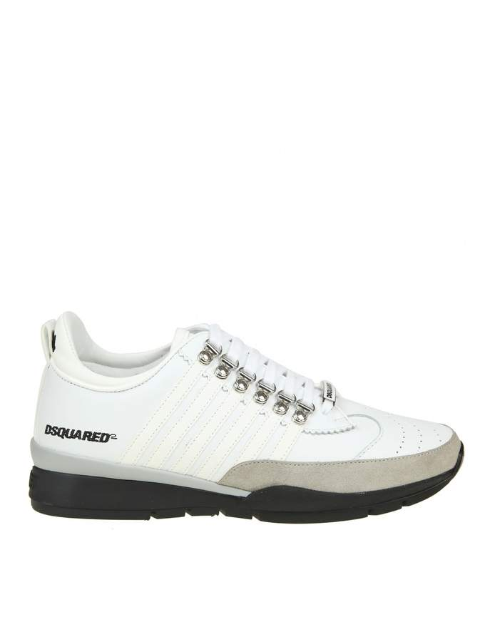 DSQUARED2 Laced Up Sneakers In White Leather