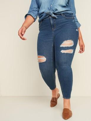 Old Navy High-Waisted Secret-Slim Pockets Rockstar Super Skinny Plus-Size Ripped Jeans