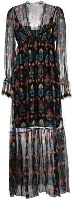 Ermanno Ermanno Floral-Embroidered Sheer Dress