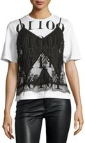 McQ by Alexander McQueen 2-in-1 Sheer Pintucked Camisole w/ Jersey Tee, Black