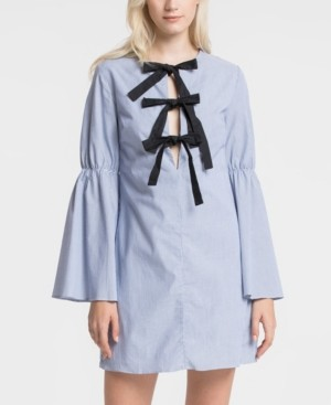 ENGLISH FACTORY Ribbon Knot Dress with Shirred Sleeve