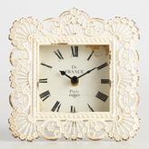 Distressed Ivory Filigree Metal Lucille Clock