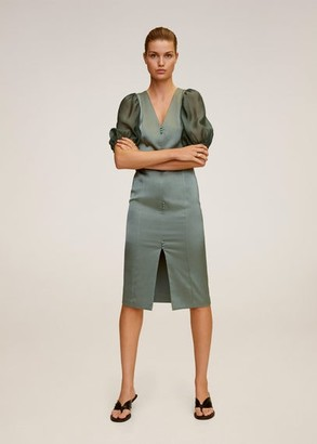 MANGO Puffed sleeves dress aqua green - 2 - Women