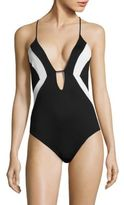 Shoshanna Crossback High-Cut One-Piece Swimsuit