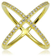 Lord & Taylor Saturn Cubic Zirconia and 18K Goldplated Sterling Silver Studded Crisscross Ring