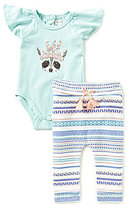Jessica Simpson Baby Girls Newborn-9 Months Raccoon Bodysuit & Printed Pant Set