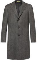 Canali Kei Slim-fit Unstructured Herringbone Wool Coat - Gray