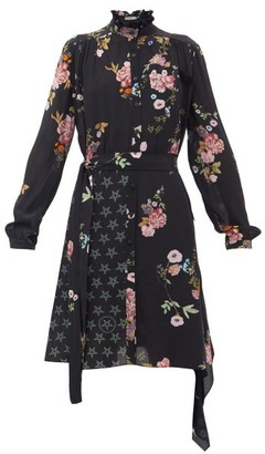 Preen Line Jude Floral & Star Crepe De Chine Shirt Dress - Womens - Black Pink