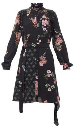 Preen Line Jude Floral & Star-print Crepe De Chine Shirtdress - Womens - Black Pink