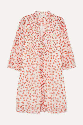 Diane von Furstenberg Layla Ruffled Floral-print Silk-crepon Mini Dress - Red