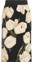 Dolce & Gabbana Floral-print Wool-crepe Pencil Skirt - Beige