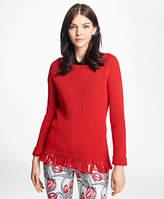 Brooks Brothers Mercerized Cotton Fringe Boatneck Sweater
